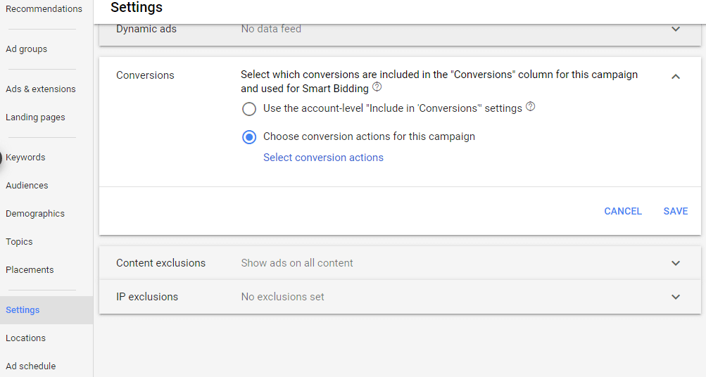 campaign-level conversion setting in Google Ads